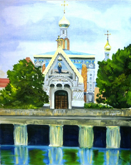 "Дарья Засухина ""Церковь Марии Магдалины""  холст, масло"