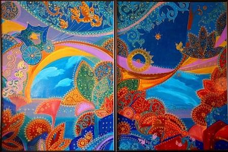 Александра Загряжская Композиция  «Зеленая карета»  акрил, 2014 г., 80х120