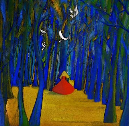 """Александра Загряжская """"С птицами в синем лесу"""" 2014 г.  смешанная техника"""